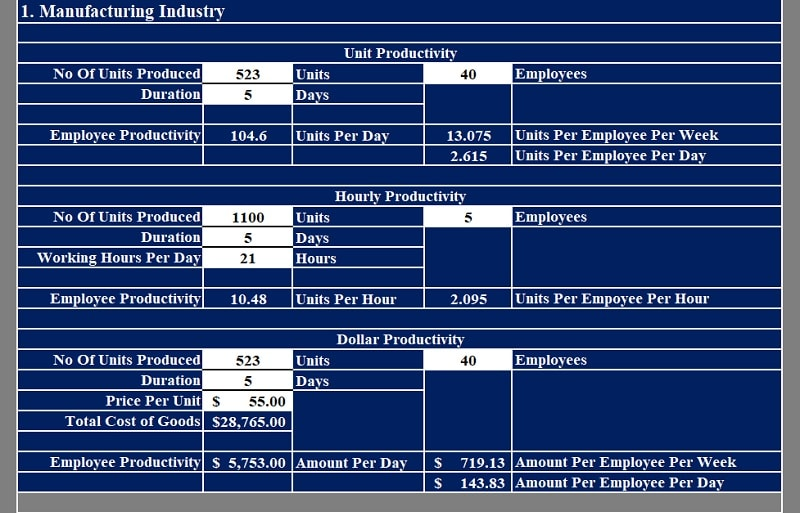 Employee Productivity Calculator
