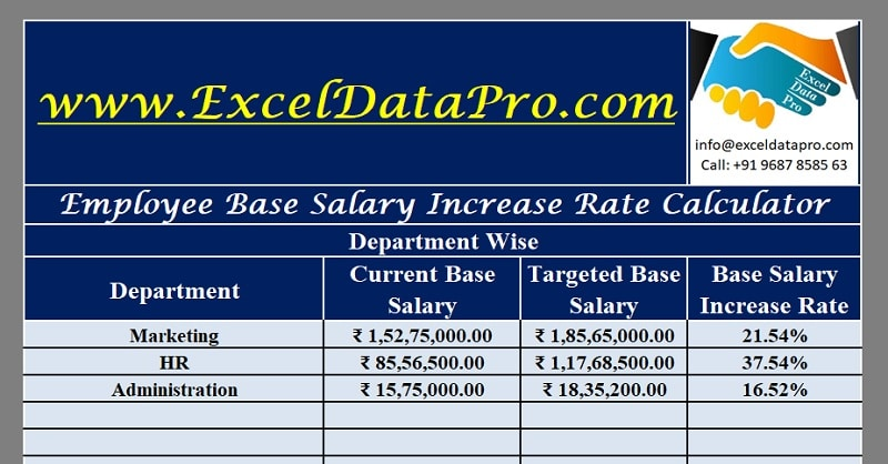 Download Employee Base Salary Increase Rate Calculator Excel Template