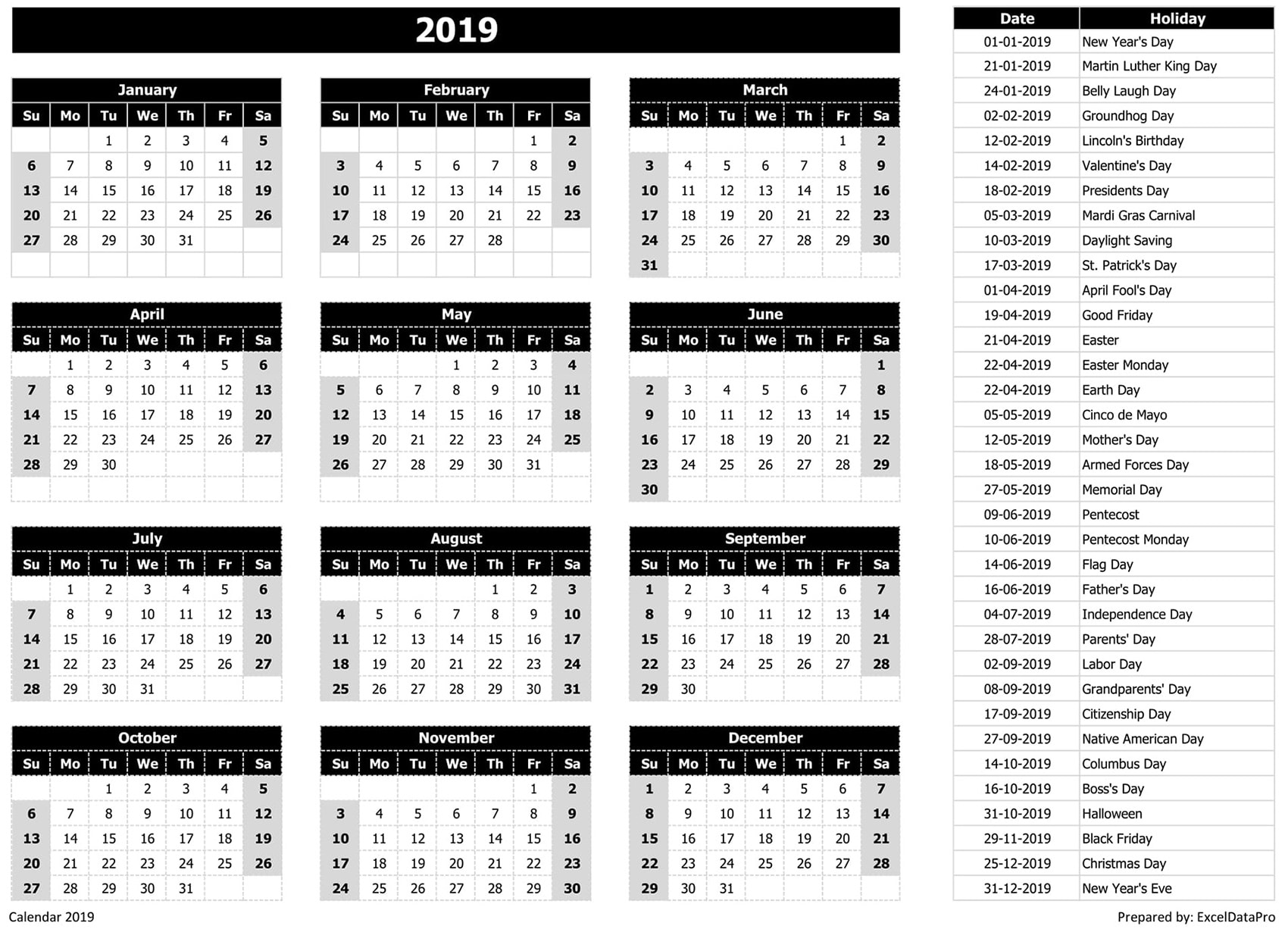 2019 Calendar Excel Templates, Printable PDFs & Images - ExcelDataPro