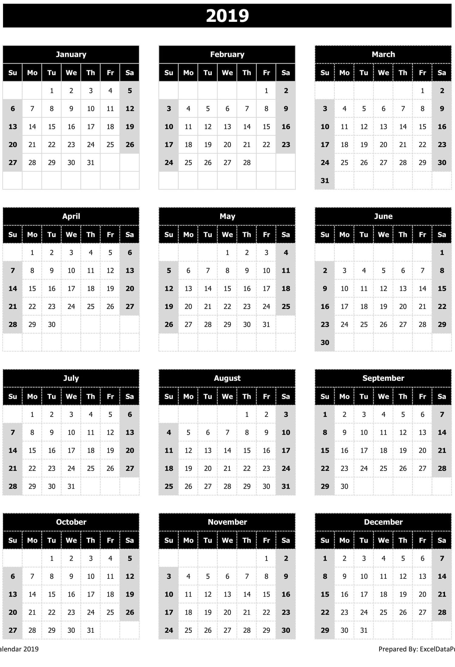2019 Calendar Excel Templates, Printable PDFs & Images - ExcelDataPro