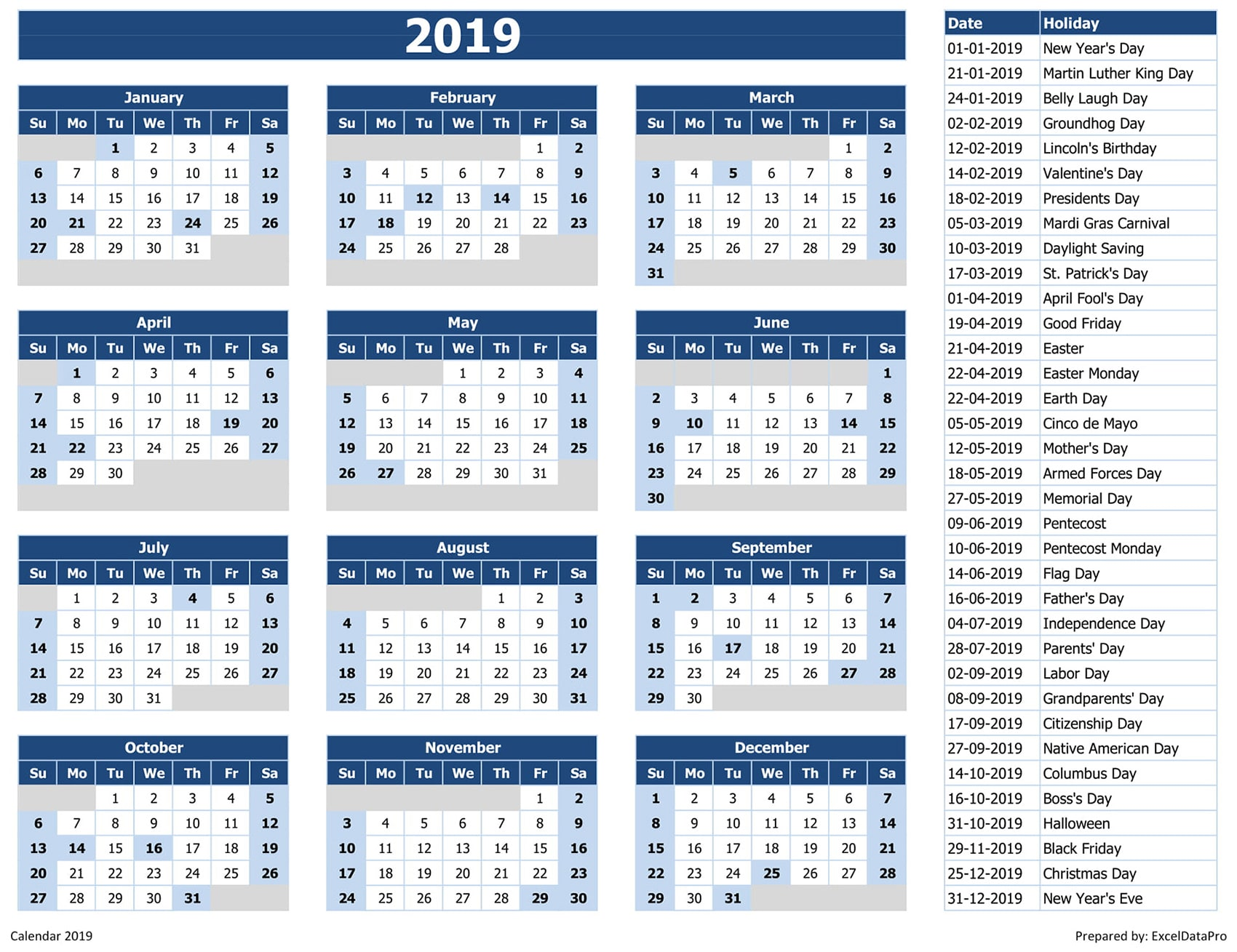 2019 Yearly Calendar Excel Template