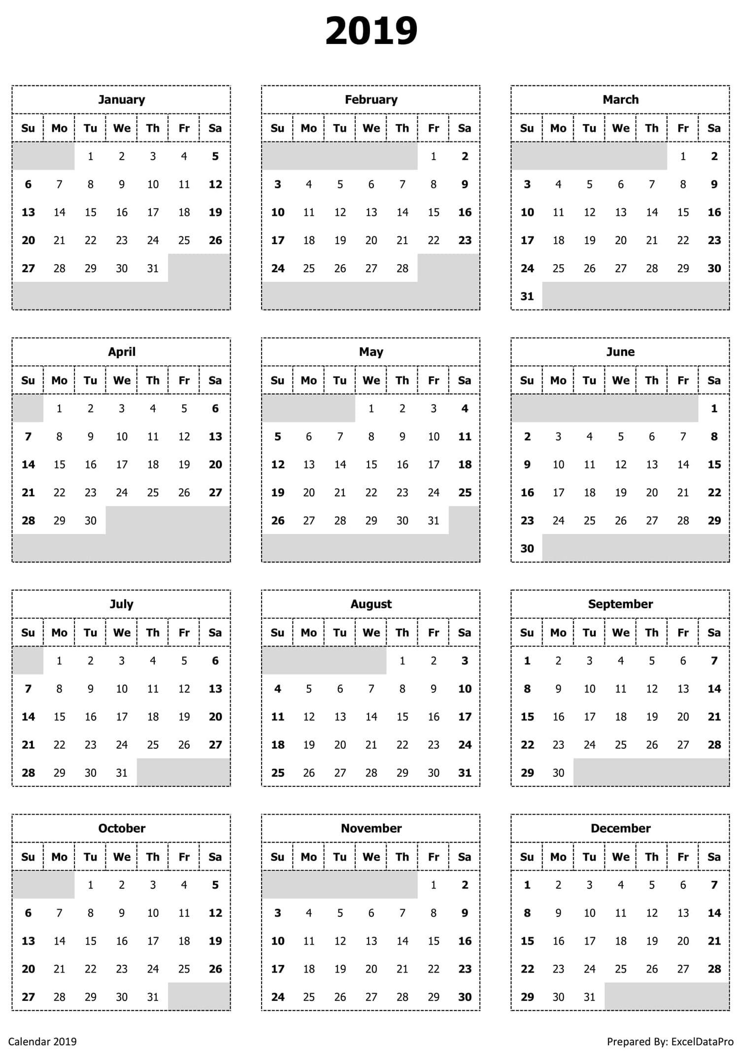 2019 Calendar Excel Templates Printable Pdfs Images Exceldatapro