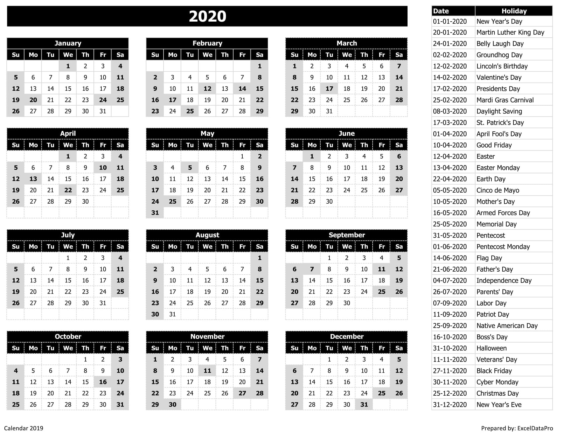 Calendrier 2020 Excel Vie Facile
