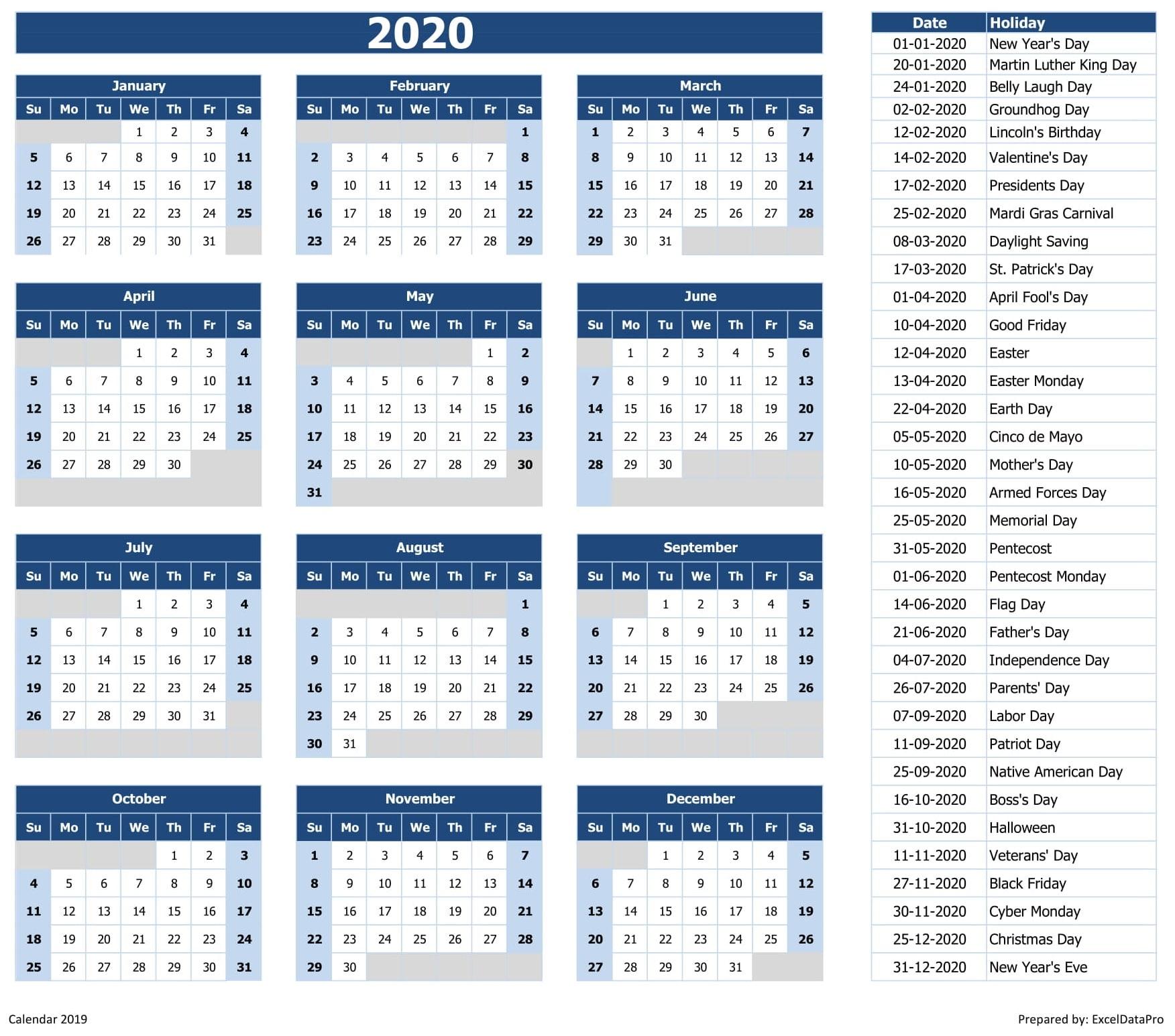 2020 Calendar Template Excel: Download 2020 Yearly Calendar (Sun Start) Excel Template