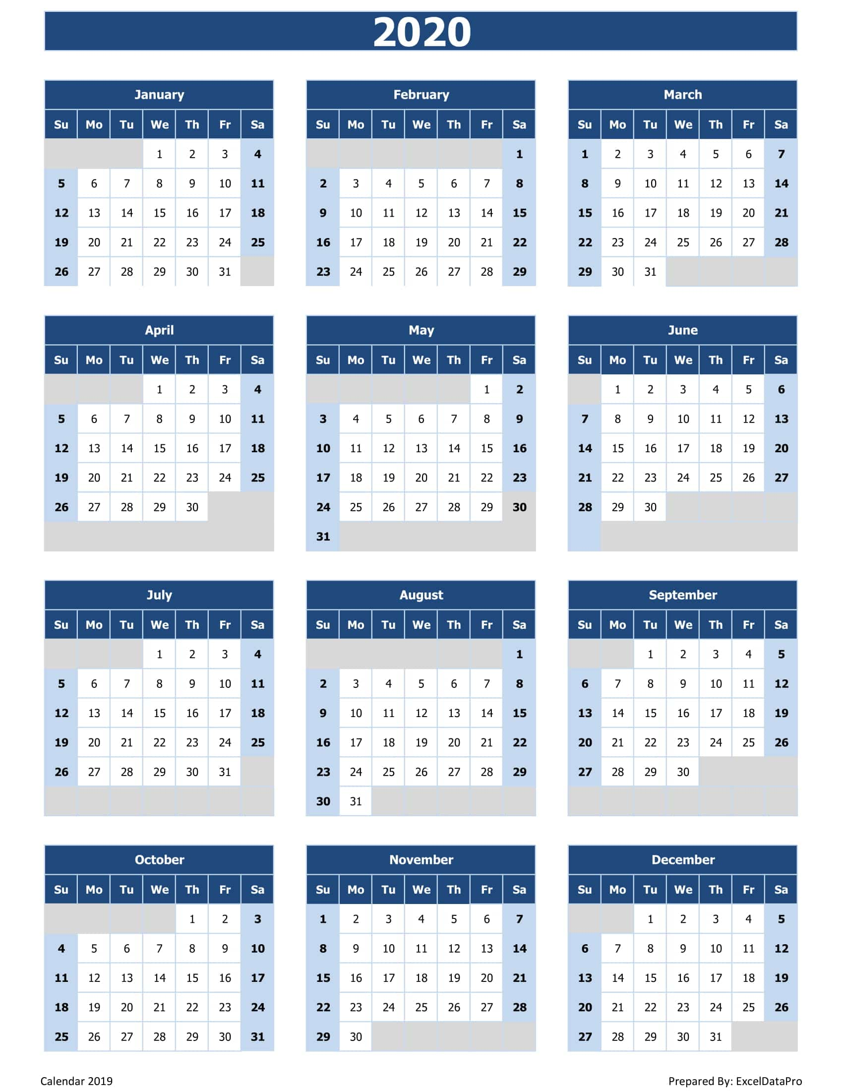 Free Excel Calendar 2020 2020 Calendar Excel Templates, Printable PDFs & Images   ExcelDataPro