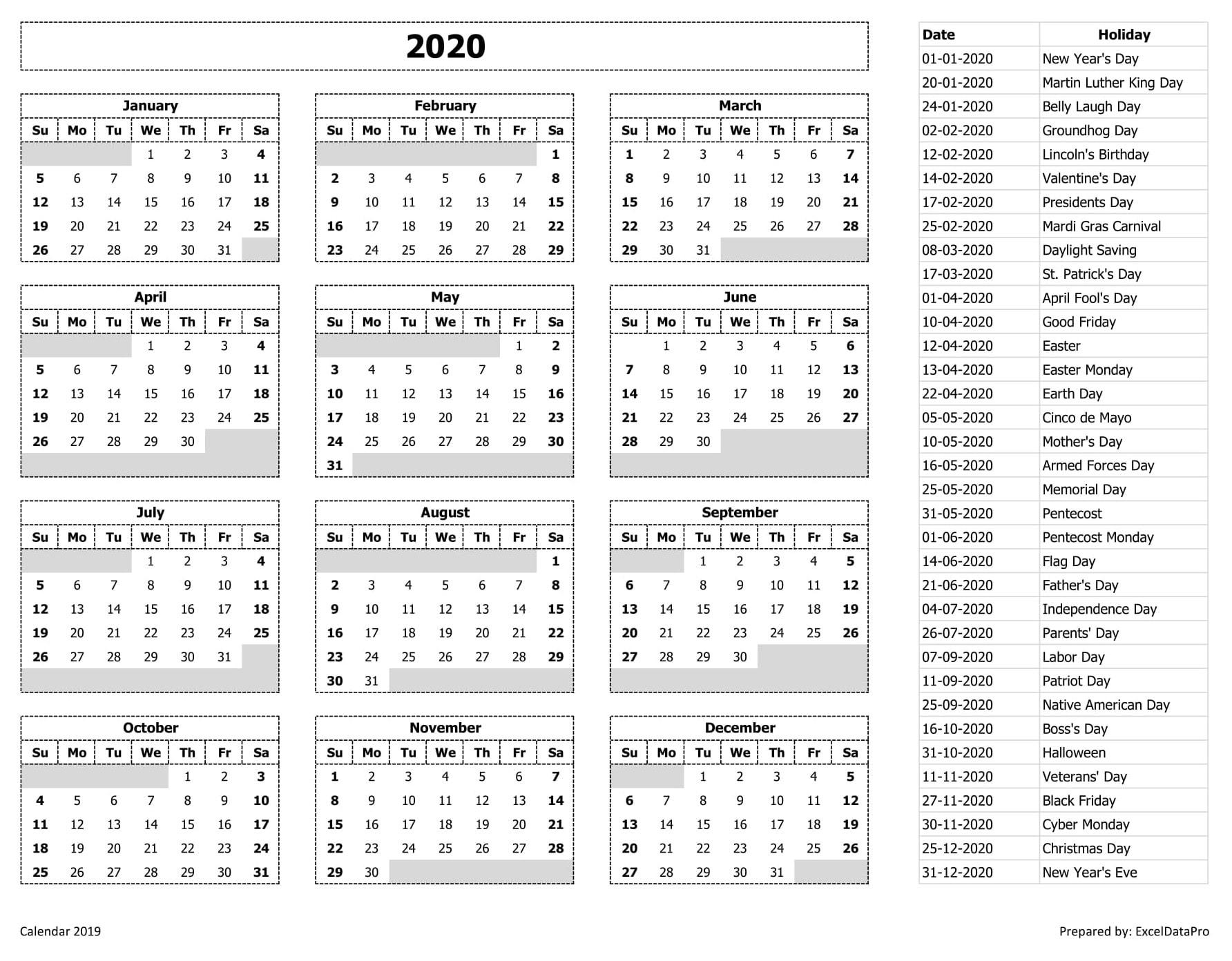 2020 Holiday Calendar List 2020 Calendar Excel Templates, Printable PDFs & Images   ExcelDataPro