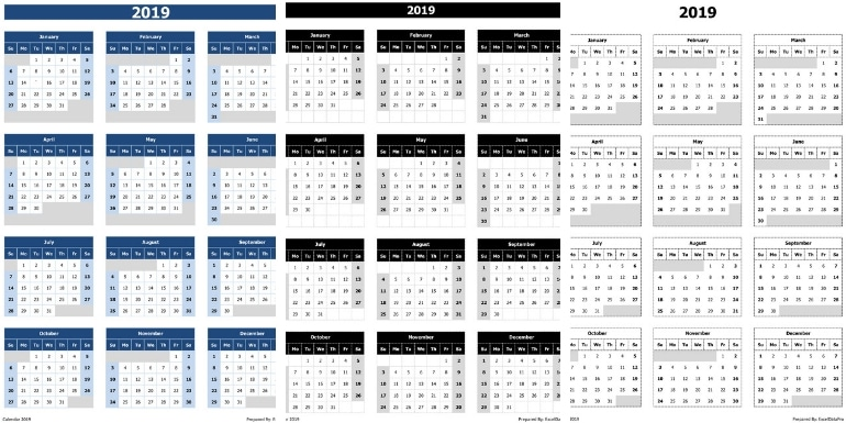 2019 Calendar Excel Templates, Printable PDFs & Images