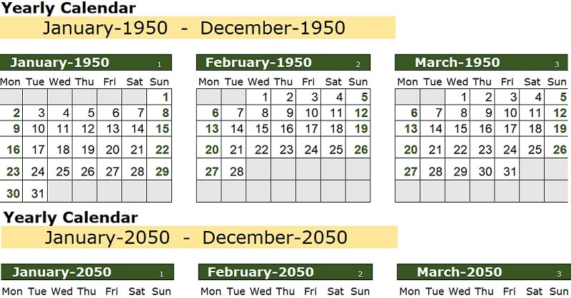 100 Years Excel Calendar Template
