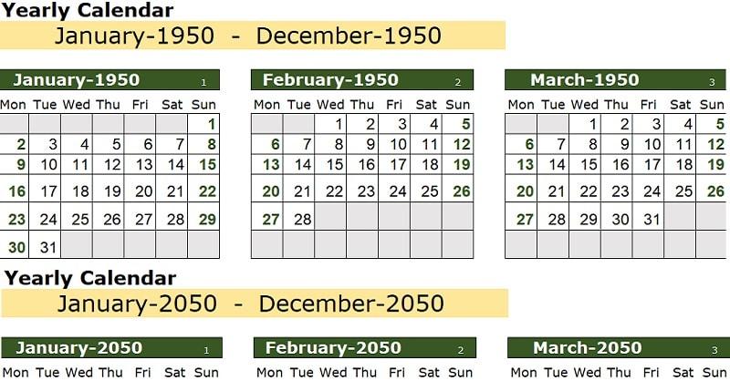 Download 100 Years Excel Calendar Template