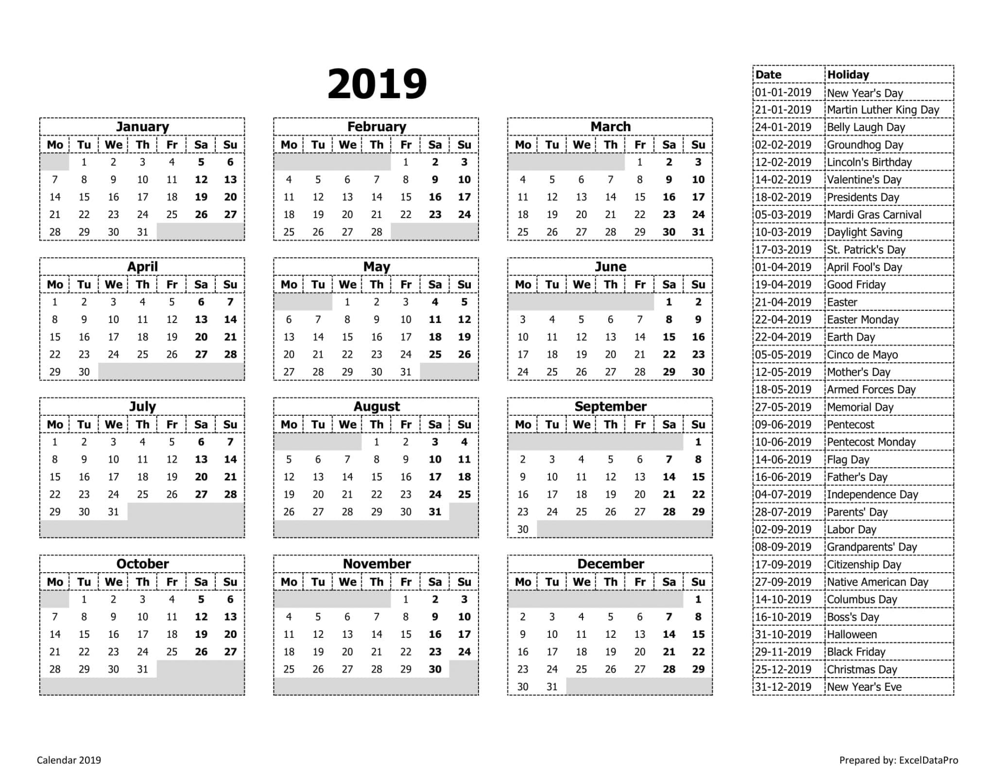 Calendar 2019 Monday Start