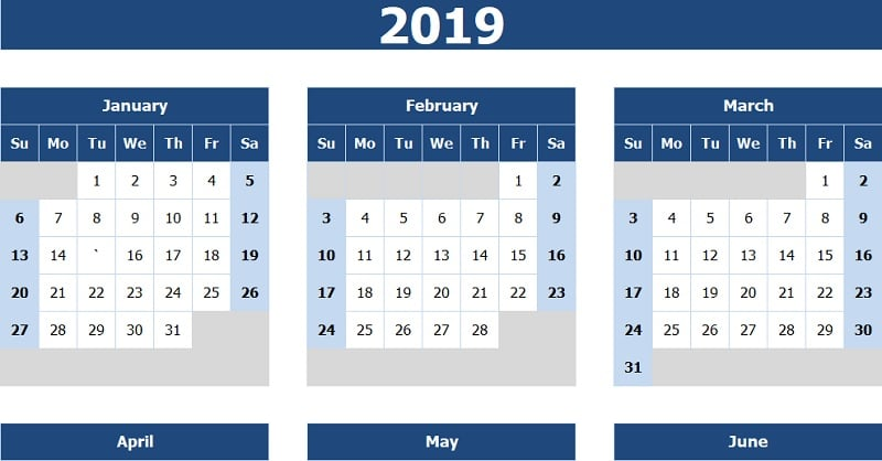 Download 2019 Yearly Calendar (Sun Start) Excel Template
