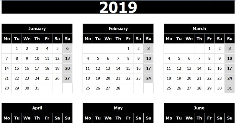 Download Calendar 2019 Monday Start Excel Template