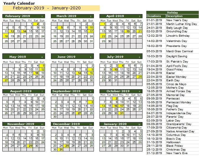 100 Years Excel Calendar Template