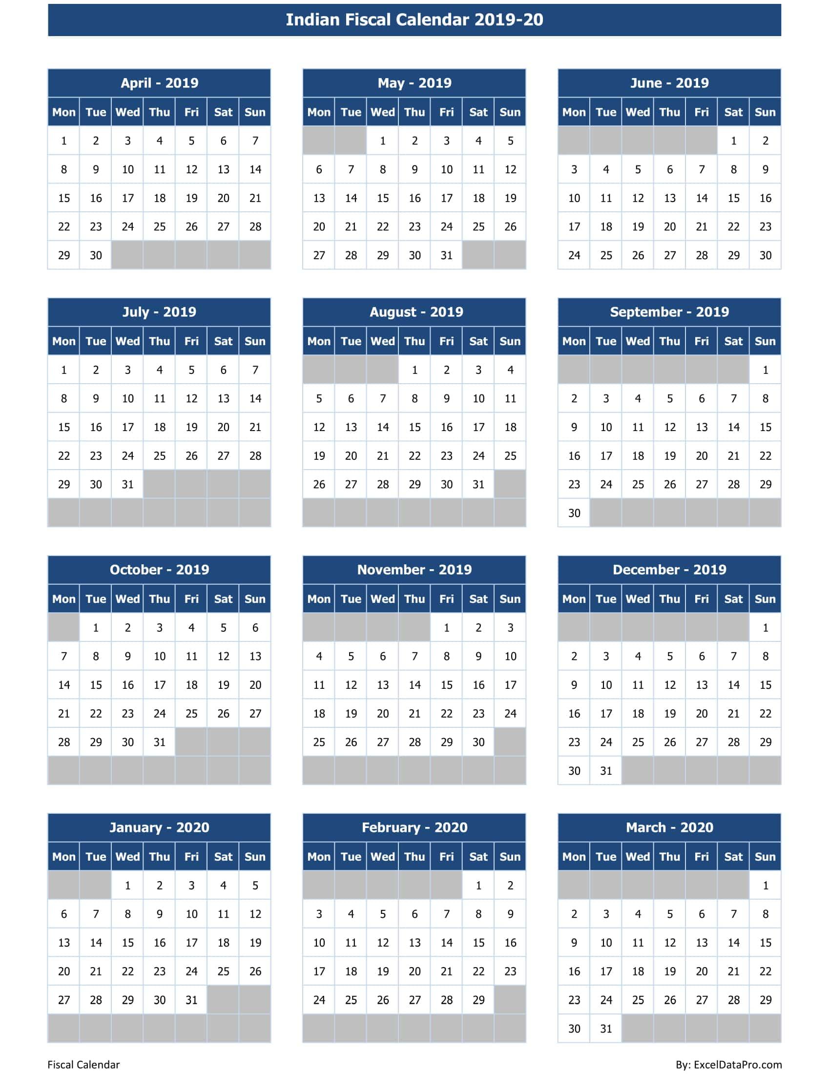Indian Fiscal Calendar 2019-20
