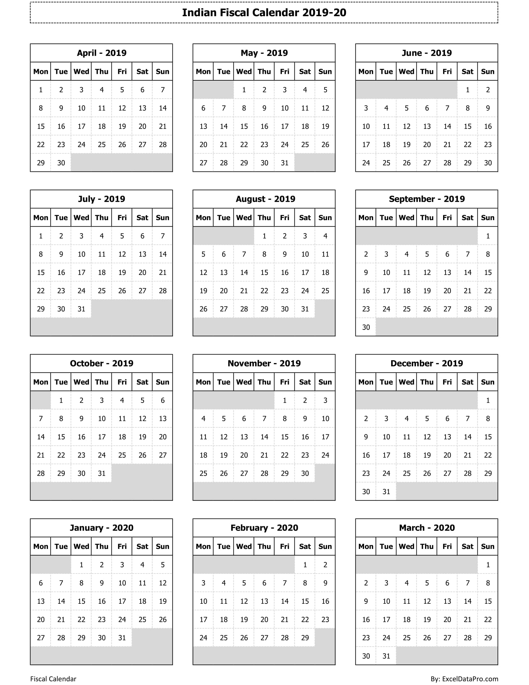 download indian fiscal calendar 2019