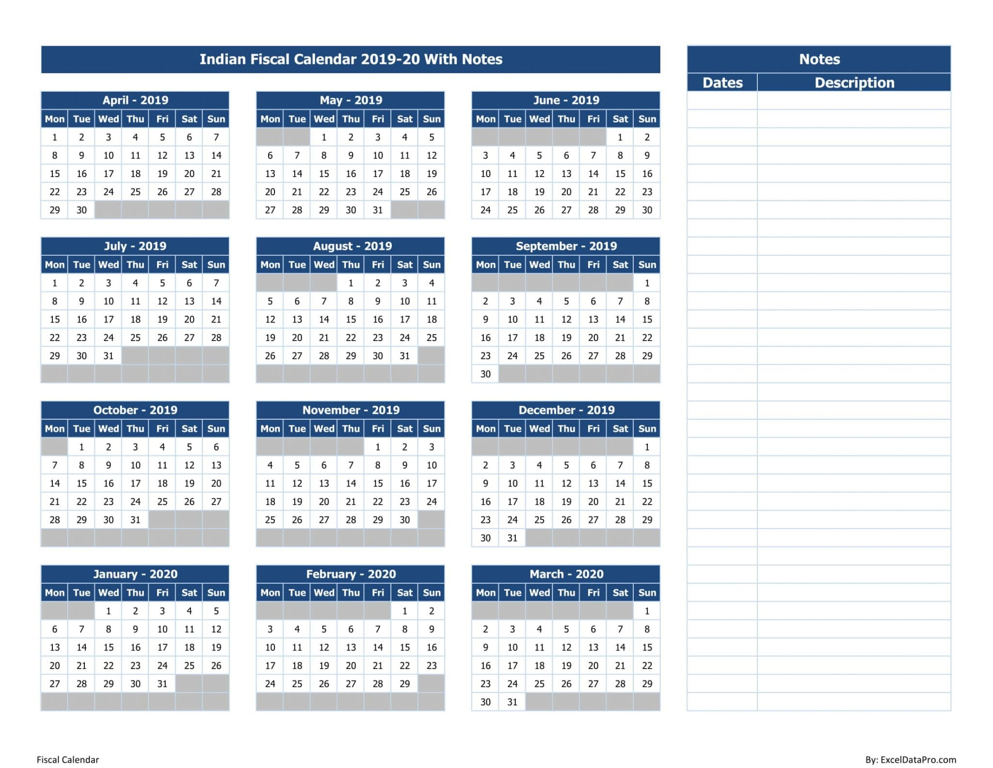 Indian Fiscal Calendar 2019-20 With Notes