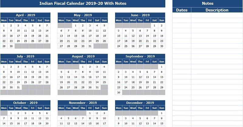 Download Indian Fiscal Calendar 2019-20 With Notes Excel Template