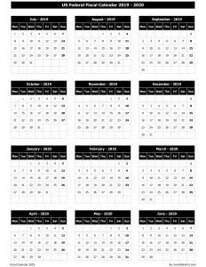 US Federal Fiscal Calendar 2019-20