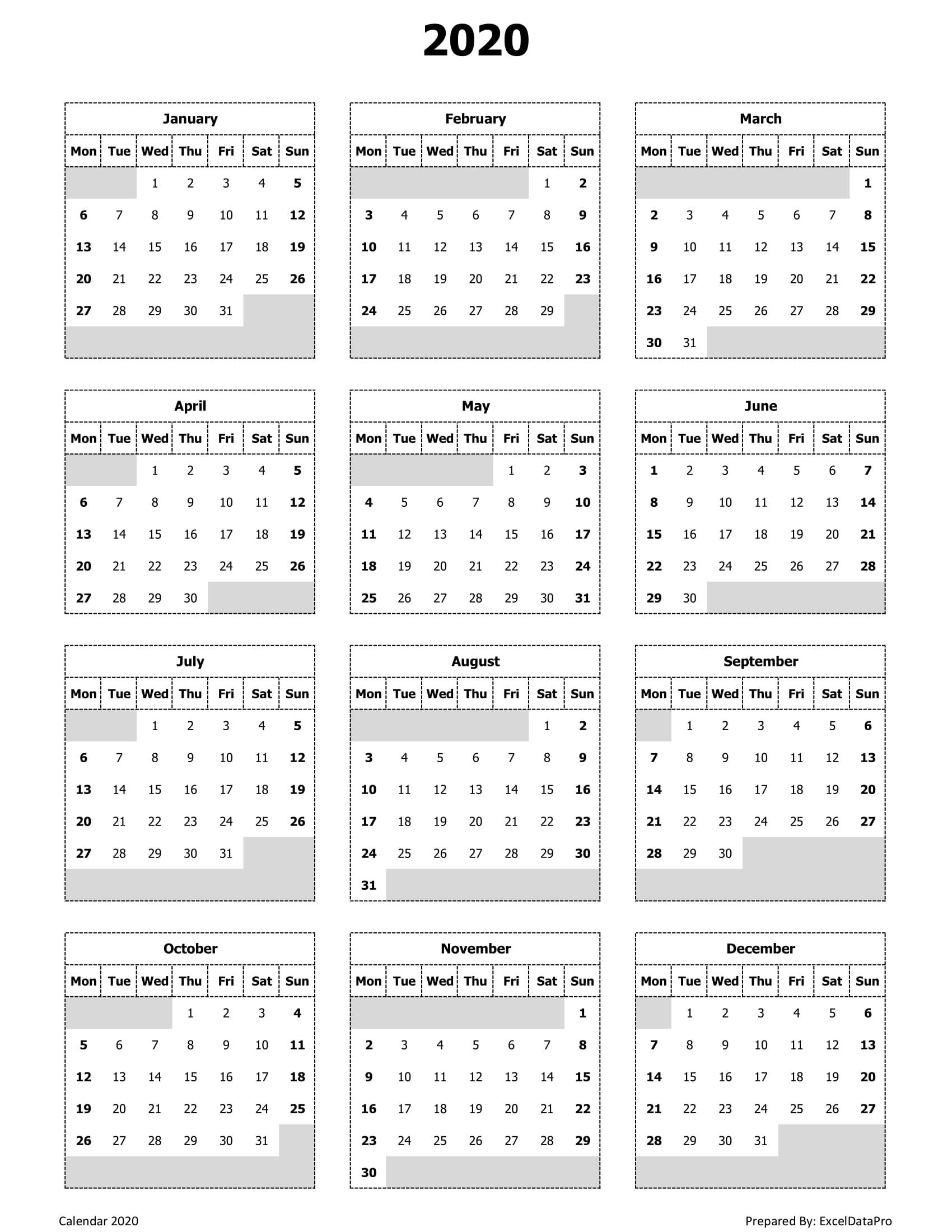 2020 Yearly Calendar (Mon Start)