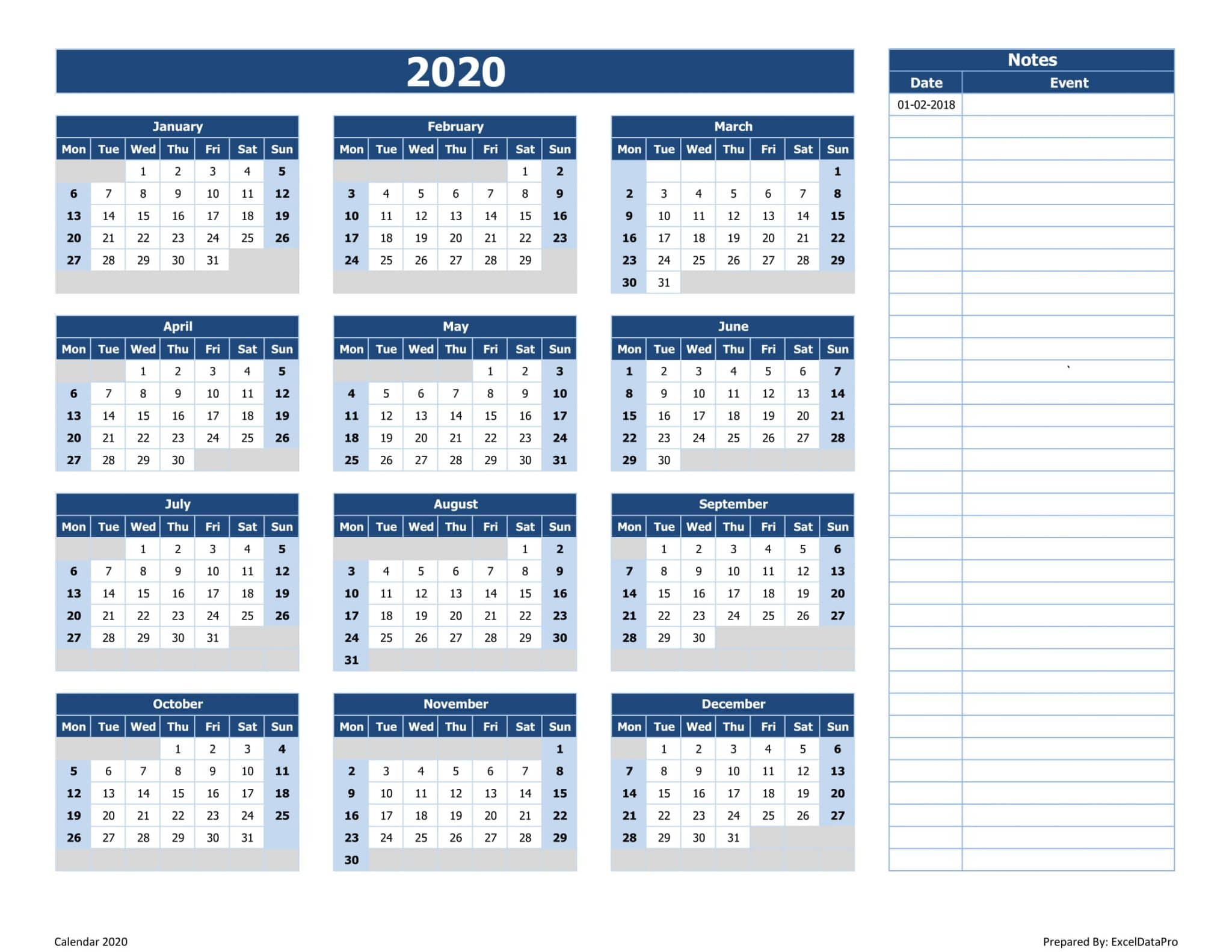 2020 Yearly Calendar (Mon Start) With Notes