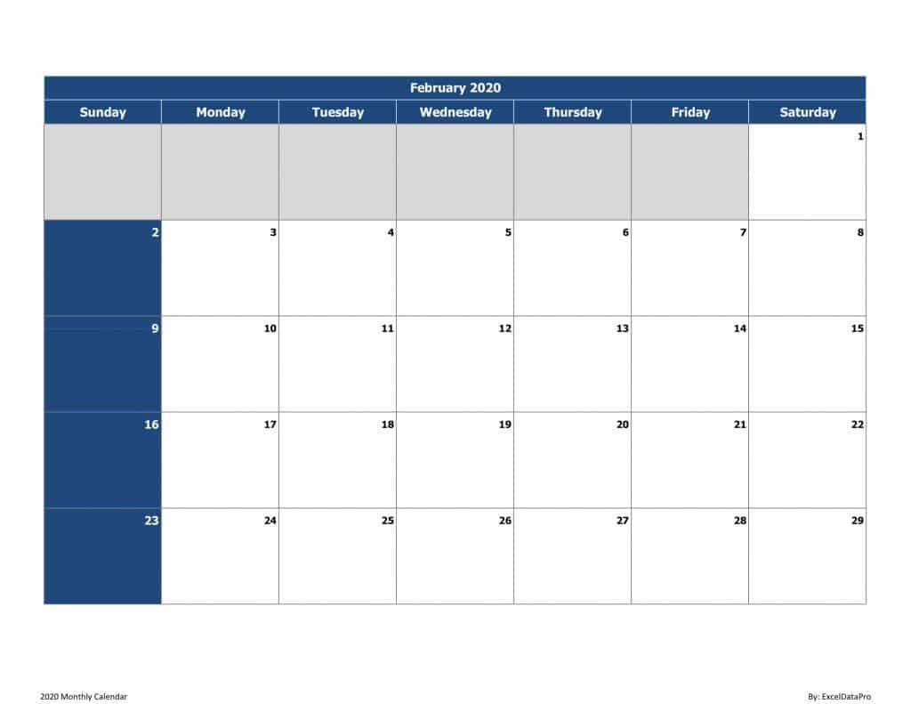 2020 Monthly Calendar (Sun Start)
