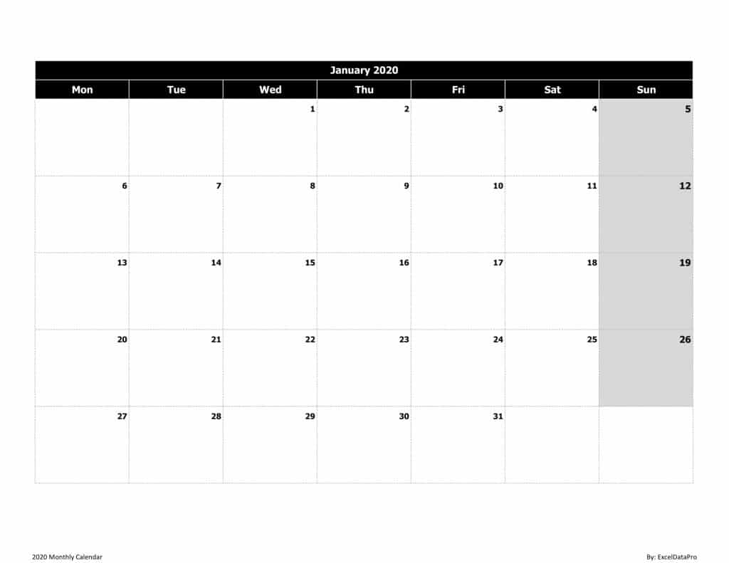 2020 Monthly Calendar (Mon Start) Black & White