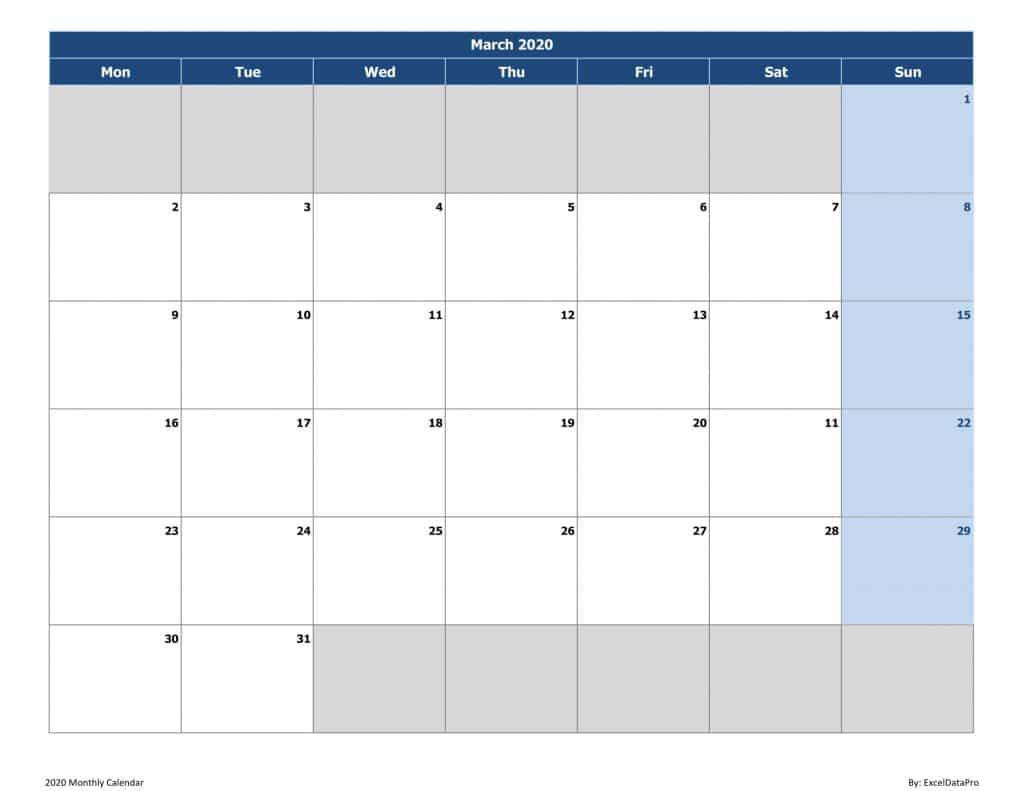 2020 Monthly Calendar (Mon Start)