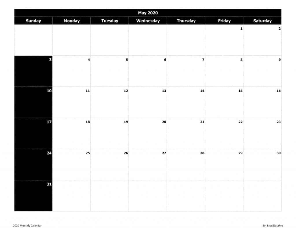 2020 Monthly Calendar (Sun Start) Black & White