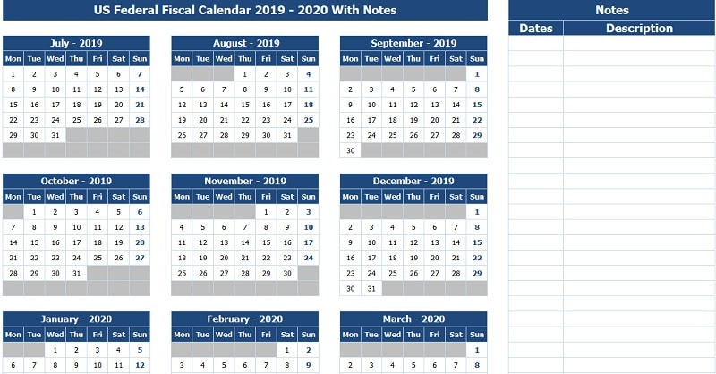 US Federal Fiscal Calendar 2019-20 With Notes