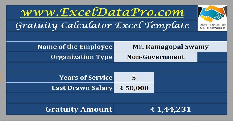 Download Gratuity Calculator (India) Excel Template