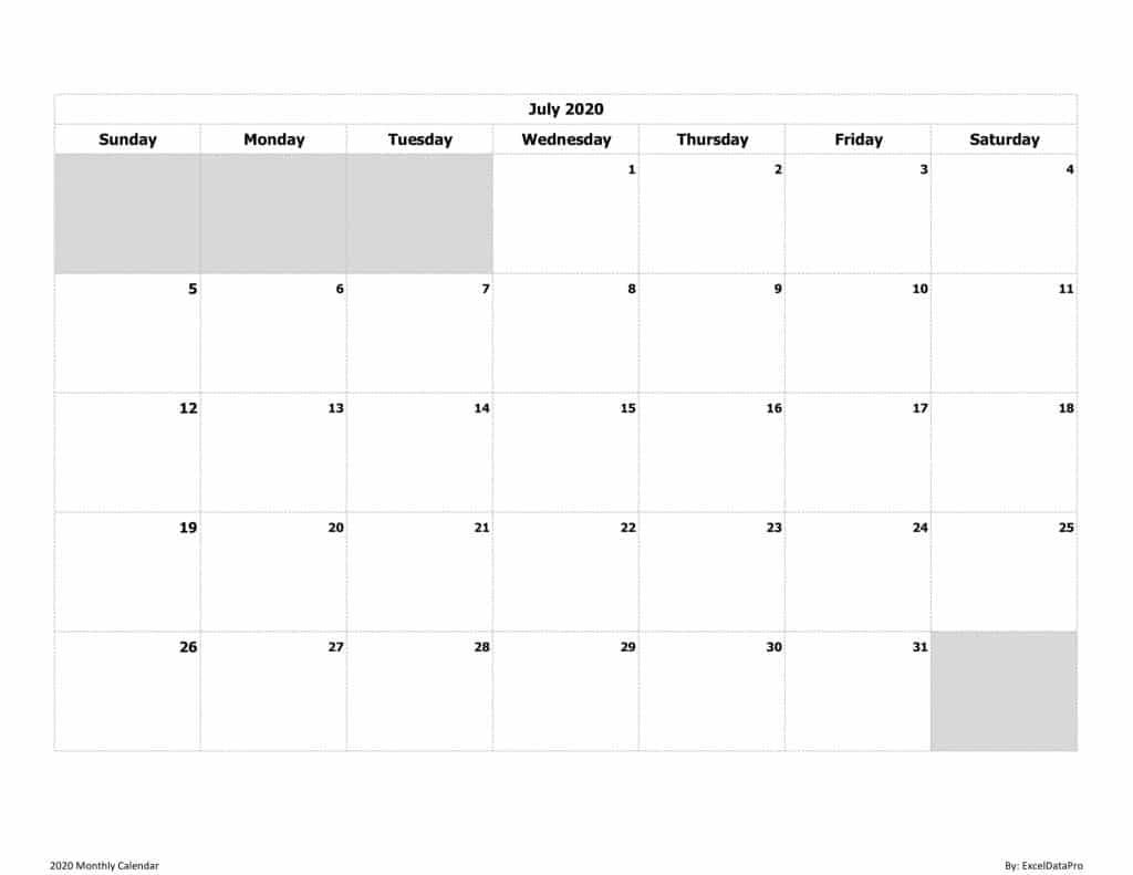 2020 Monthly Calendar (Sun Start) Ink Saver