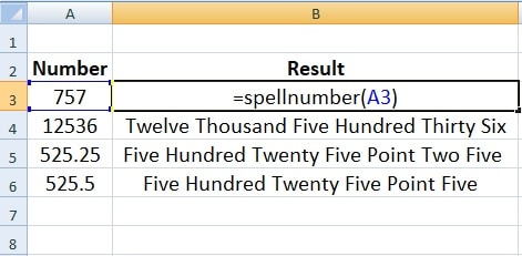 SpellNumber Function Without Currency