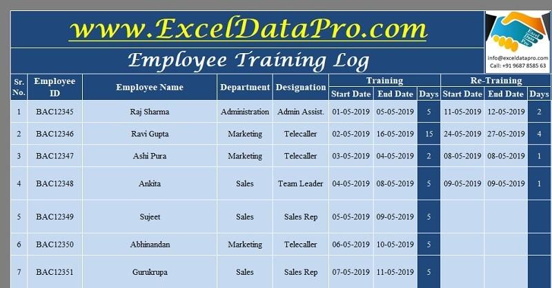 Download Employee Training Log Excel Template