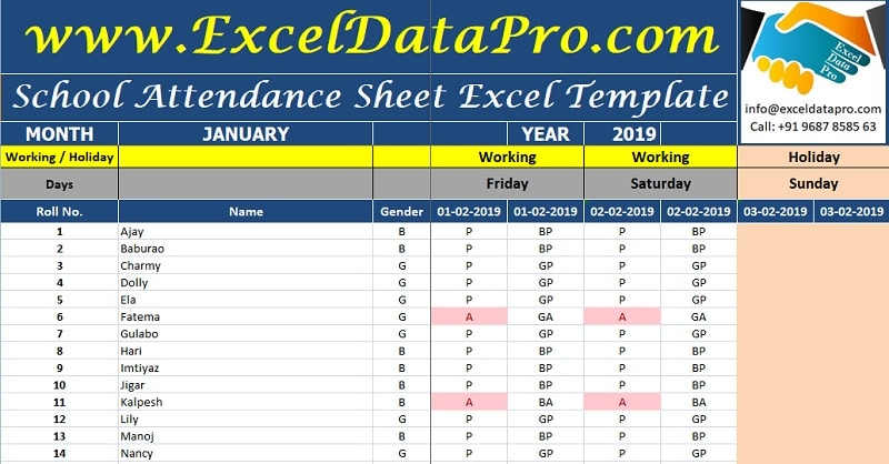 Download School Attendance Sheet Excel Template