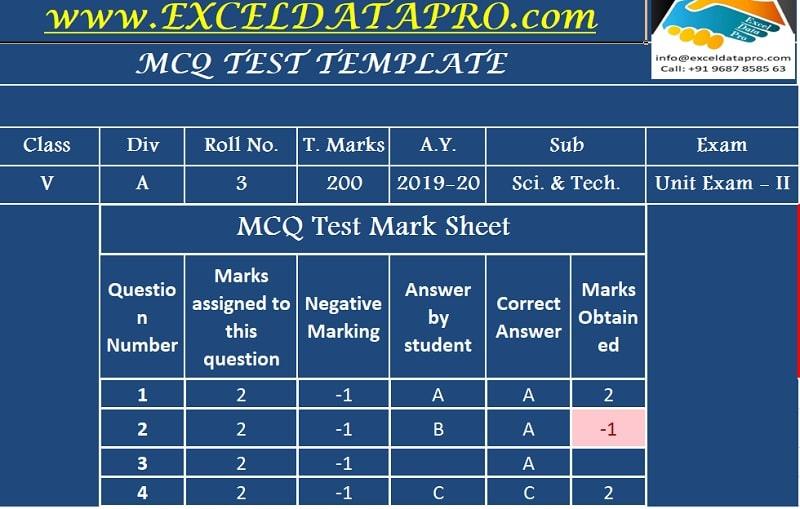 MCQ Test Sheet