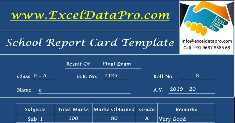 School Report Card And Mark Sheet