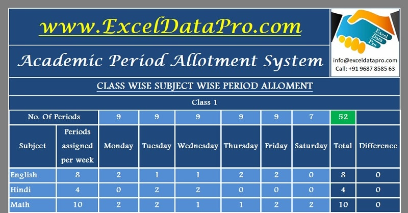 Download Academic Period Allotment System Excel Template