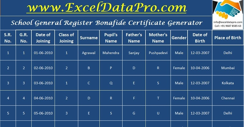 General Register and Bonafide Generator
