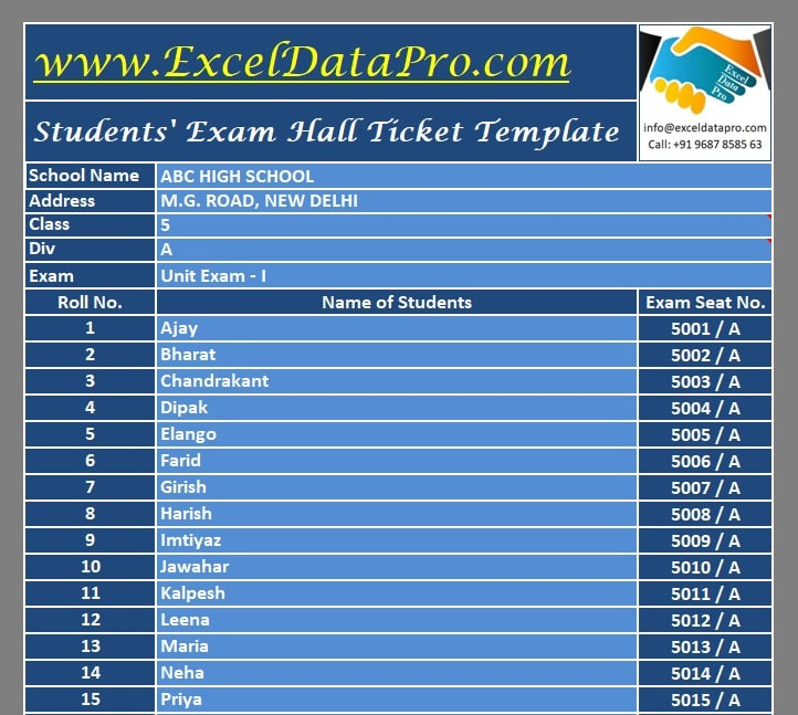 Exam Hall Ticket Generator