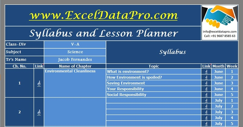 Syllabus And Lesson Planner