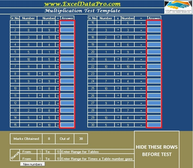 Multiplication Table Test Sheet