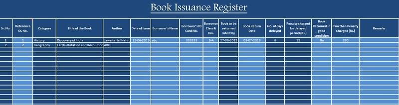 Library Book Issuance Register