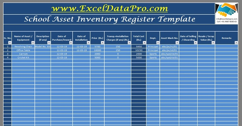 Download School Assets Inventory and Issuance Register Excel Template