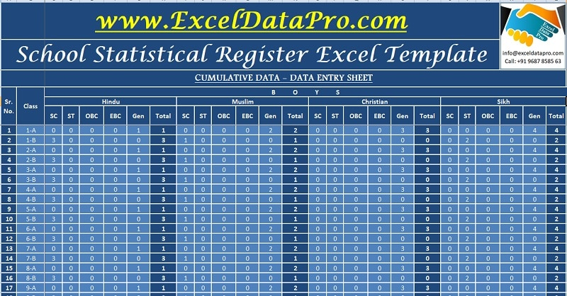 Download School Statistical Register Excel Template
