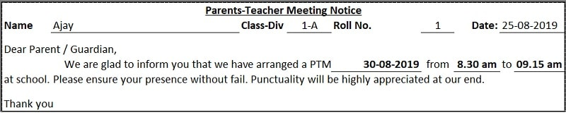 School PTM Notice Excel Template