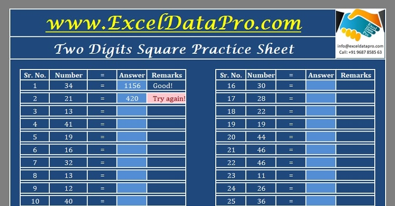 Download Squares Practice Sheet Excel Template