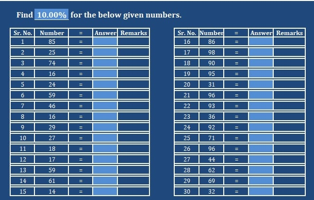 Basic Percentage Practice