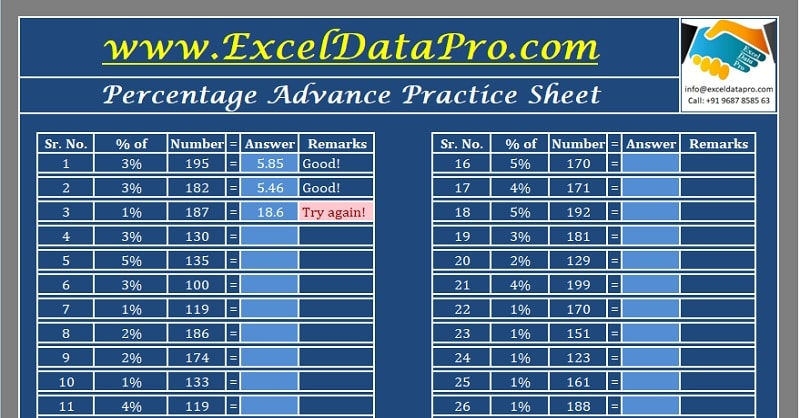 Download Percentage Practice Sheet Excel Template