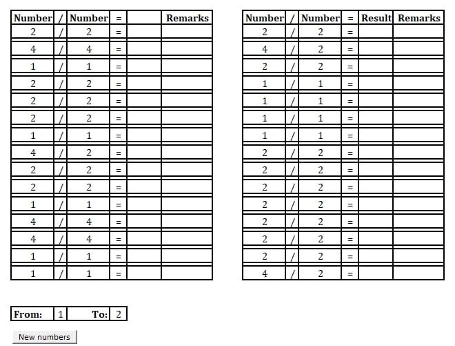 Printable Basic Division Practice Sheet