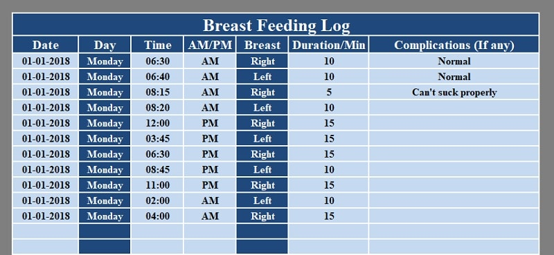 Breastfeeding Log